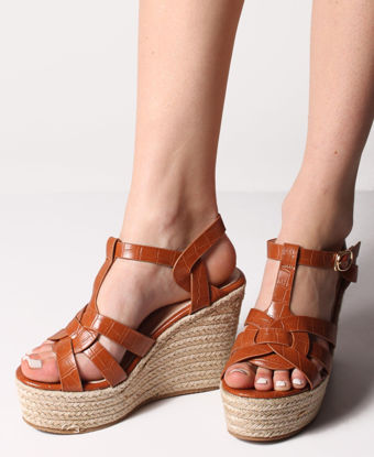 Picture of Espadrille Wedge Sandals - Camel