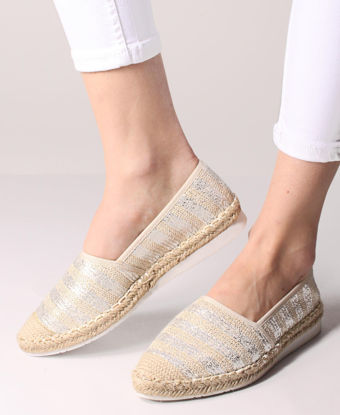 Picture of Printed Espadrille Pumps - Silver
