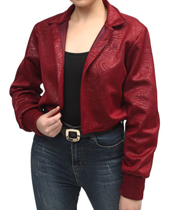 Picture of Embossed Scuba Cropped Jacket - Maroon