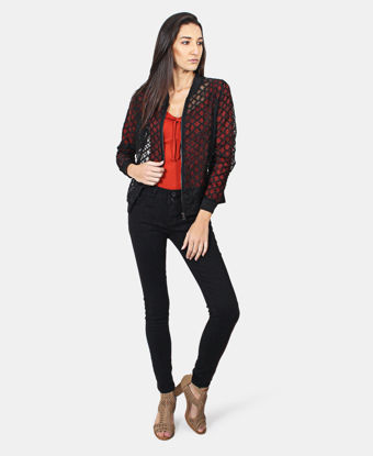 Picture of Embroidered Mesh Jacket  - Black