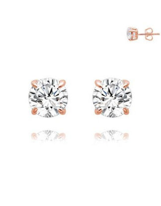Picture of Silver Rose RND 4 Claw Stud Earrings