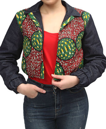 Picture of Ethnic And Denim Cropped Bomber Jacket - Red