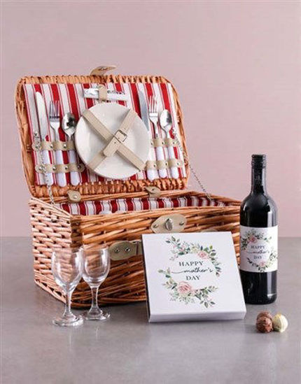 Picture of Mothers Day Wine And Chocolate Combo In Basket