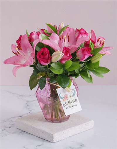 Picture of Cerise Florals In A Soft Pink Vase